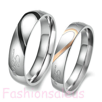 "Stainless Steel Promise ""Real Love"" Couple Wedding Band Love Heart Rings"