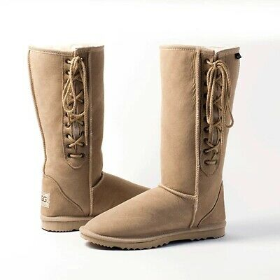 Classic Long / Tall Lace Up Ugg Boots Premium Australian Sheepskin - 13 Colors