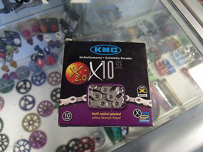 KMC X10.93 10-Speed 116-Links Bicycle Chain Silver//Grey 1//2x11//28-Inch
