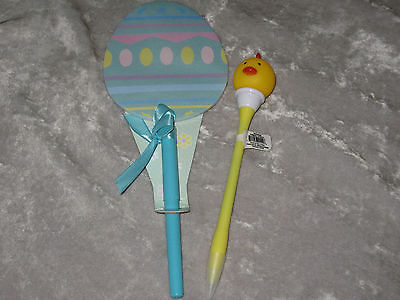 Decorated Blue Egg Paper Pen Easter Flashing Chick Pen Holiday Write NEW!