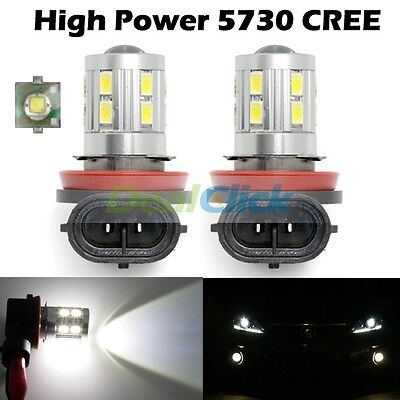 2x White Cree High Power H11 H8 12-Smd 5730 Led H9 H16 Fog Lights 2014 Car Bulb