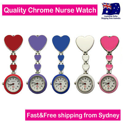 Heart Nurse Watch Chrome Pendant Pocket Watch for Pouch with Spare Battery