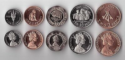 GIBRALTAR - 5 DIF UNC COINS SET: 1 - 20 PENCE 2004 YEAR 300th YEARS KM#1044-1049