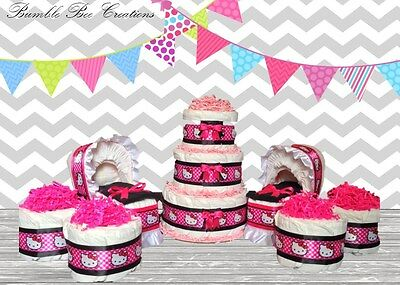 Hello Kitty Diaper Cake Hot Pink & Black/ Bassinet / Mini Cakes Party Set