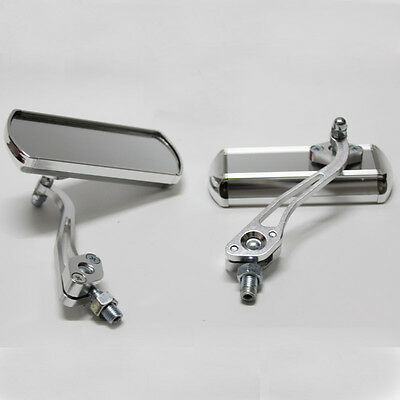 2x New Silver Motorcycle Racing Rear View Side Mirror Fit 8mm / 10mm Thread