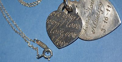 TIFFANY & CO I LOVE YOU STERLING SILVER HEART CHARM PENDANT 2 hearts  NECKLACE