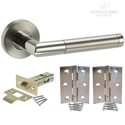Stainless Steel Internal Door Handle Pack - Duo Satin/Polished Latch Door Handle
