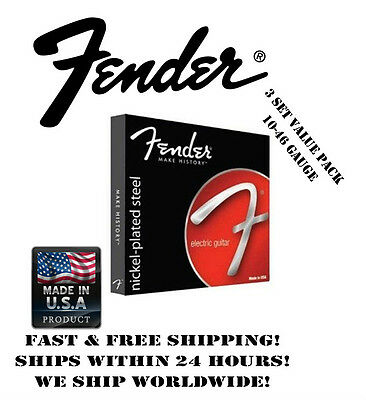 *fender 250R Regular Electric Guitar Strings (10-46 Gauge, 3 Set Value Pack!)*