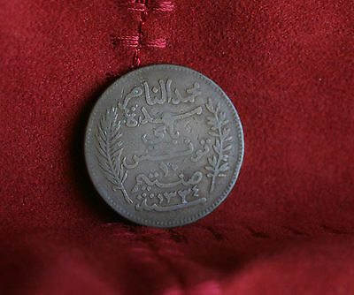 1916 Tunisia 10 Centimes AH1334 Bronze World Coin KM236 ten cents
