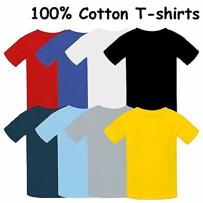 Kids plain T-shirt 100% Cotton Children High Quality Top Boys Girls PE School T