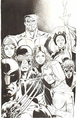 X-Men Commission - Wolverine, Cyclops, Storm, Colossus - art by Ken Branch