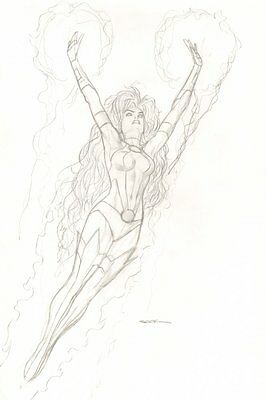 Starfire Flying Pencil Drawing - Signed original art by Ryan Sook