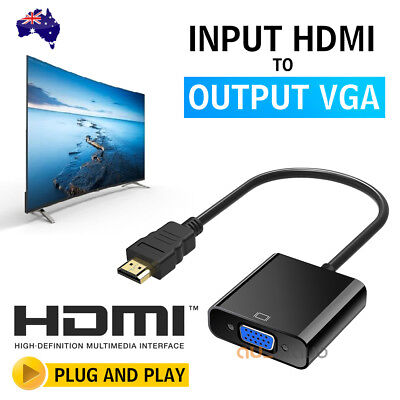 AU 1080P HDMI Male to VGA Female Video Adapter Cable Converter Chipset Built-in