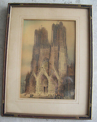 Vintage LAte 1800s Era Framed Print - West Front Rheims Cathedral Church LOOK