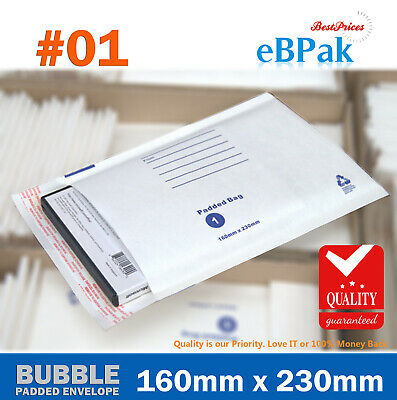 1000x Bubble Padded Bag #01 160x230mm Size 01 White Kraft Envelope Mailer
