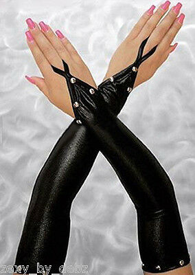 Ladies Gloves Long Elbow Black Studded Shiny Faux Leather / PVC Goth Biker