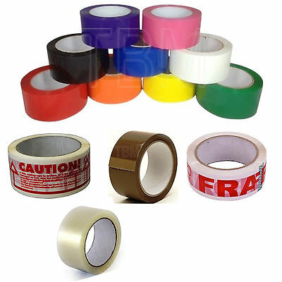 Colour Caution Fragile Packing Tape Sellotape 48MM x 66M Packaging Multi Tape
