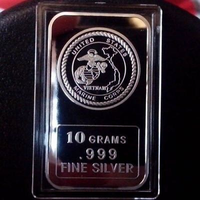USMC  Vietnam 10 Grams .999 Fine Silver Bullion Bar  /   oz TSB058 - 1