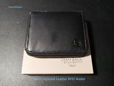 Franco Bonini Genuine Leather RFID Protected Card Holder Zip Around Mens Wallet