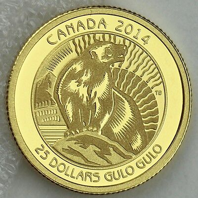 "Canada 2014 $25 Wolverine ""Untamed Canada #3"" 1/4 oz. 99.99% Pure Gold Proof"