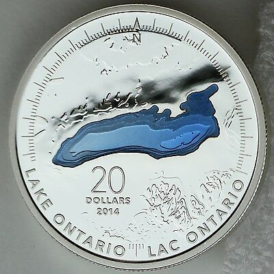Canada 2014 Lake Ontario $20 1 oz Pure Silver Enameled Proof Coin Great Lakes #2