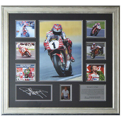Hand Signed Carl Fogarty Motorcycle Photo Montage - World Superbike Champ