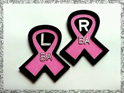BREAST AWARENESS RIBBON  XRay marker set 2 initials CUSTOM LEAD MARKERS