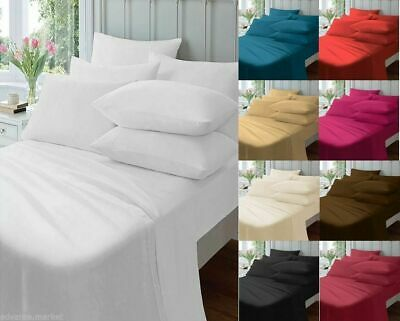 """Luxury Percale Cotton Blend Extra Deep 16"""" Fitted Sheets All Sizes & Pillowcases"""