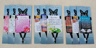 Grave Memorial In Loving Memory Laminated Card Butterfly Stake Mum Dad Husband