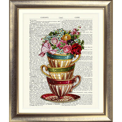 DICTIONARY ART PRINT ON ANTIQUE BOOK PAGE Tea Cups Vintage Flowers Floral OLD