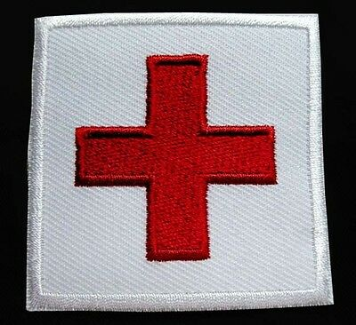 THE RED CROSS SYMBOL SIGN HUMANITARIAN Embroidered Iron on Patch + Free Shipping
