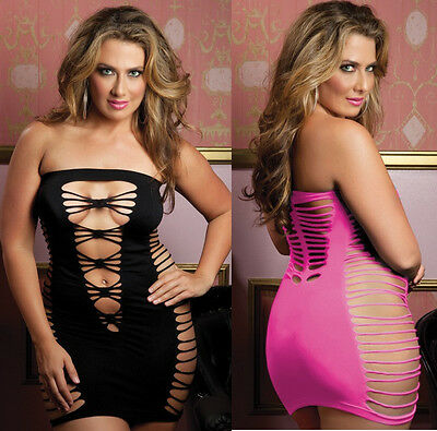 Plus Size Seamless Tube Mini Dress Black or Pink Lingerie Chemise OS Queen S9511