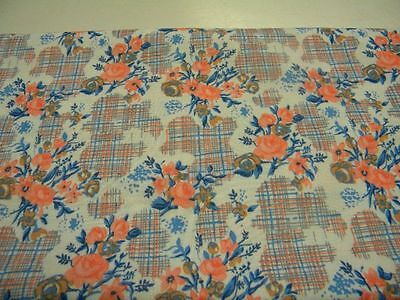 tissus fleur bleu rose polyester coupon 140cm X 160cm neuf mercerie couture 71