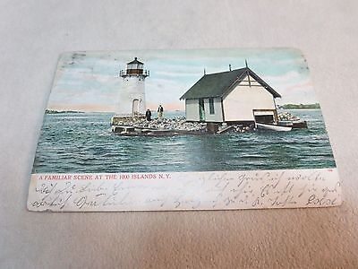1000 Islands N.y. Lighthouse And Boat House 1907 Antique