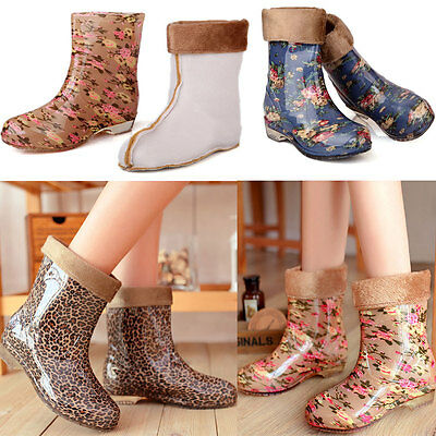 Women's Sweety Flowers Print Ankle Rainboots Non-slip Detachable Flocked Shoes