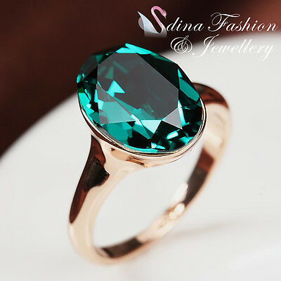 18K Rose Gold Plated Made With Swarovski Crystal Single Oval Cut Emerald Ring
