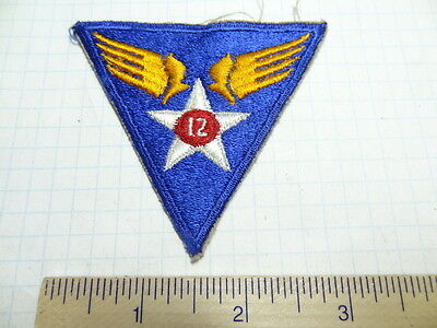 Ww2  12Th Army Air Force Patch  - Green Back   #usp383