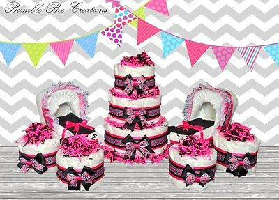 Hot Pink & Black Zebra Diaper Cake/ Bassinet / Mini Cakes Party Set