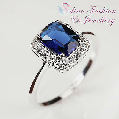 18K White Gold Plated Made With Swarovski Crystal Delicate Square Sapphire Ring