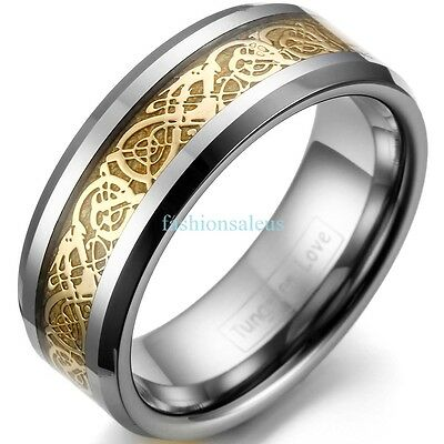 8mm Tungsten Carbide Ring Men's Celtic Gold Tone Dragon Inlay Wedding Band Gifts