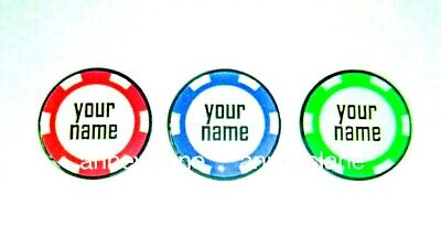 anneys-PERSONALISED GOLF BALL MARKER-poker chip style-red,blue or green-$5.60 ea