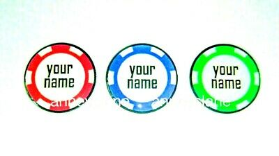 anneys * your OWN PERSONALISED GOLF BALL MARKER - poker chip style *