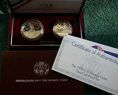 1992 Olympic 2 Coin Set Proof Silver Baseball Dollar & Gymnast Half w/ Box & COA