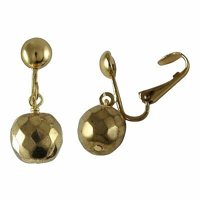 Genuine Gold Finish Glass Beads Womens Girls Clip-On Earrings