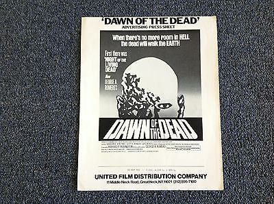 * ORIGINAL VINTAGE 1978 * Dawn of the Dead Ad Mat Poster Sheet 23 x 29