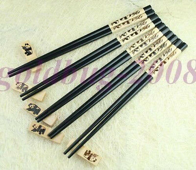 5 Pairs Carved Cute Panda Wooden Chopsticks - Stand Free