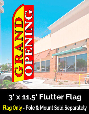 GRAND OPENING (Yellow/Red) Flutter Feather Banner Flag (11.5 x 3 Feet)