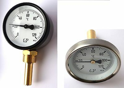 "Solid Metal Industrial Temperature Gauge Dial Probe 1/2"" both entry available"