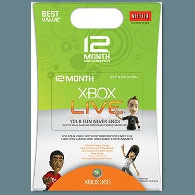 Xbox One 360 Live Gold Mitgliedschaft 12 Monate Monat Month Code Card Per Email