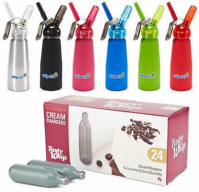 Whipped Cream Chargers  NitrousOxide  N2O Tasty Whip It Dispensers Whippers Grey